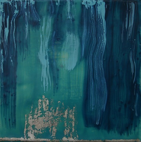 Small waterfall in shades of turquoise encaustic