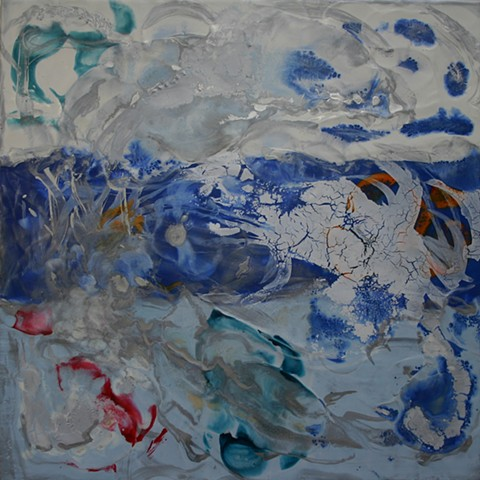 abstract encaustic painting in blue