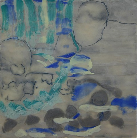 Drawing and encaustic incorporated into waterfall painting
