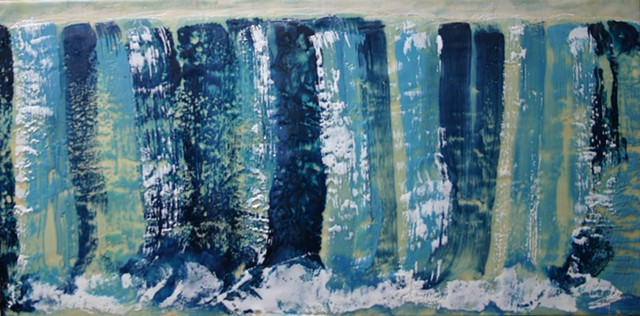 Encaustic blue waterfall with wide swirling splashes