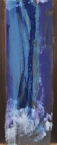 Deep blues form encaustic waterfall on copper plate.