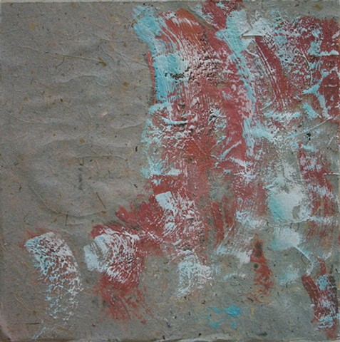 Encaustic painting and paper handmade by the artist