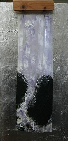 Unusual encaustic treatment in this Waterfall on clear drafting film over silver leaf