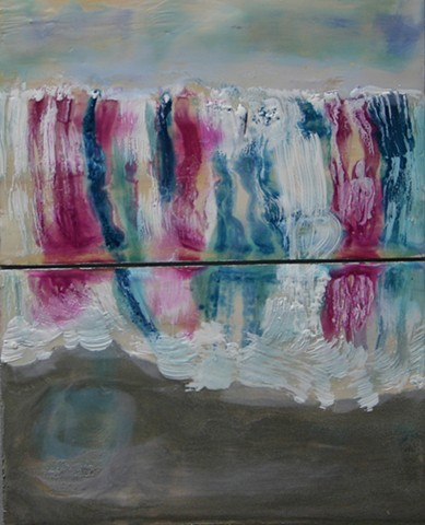 Diptych encaustic waterfall