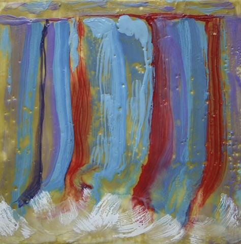 Colorful encaustic waterfall in reds and purples plummeting to white splashes