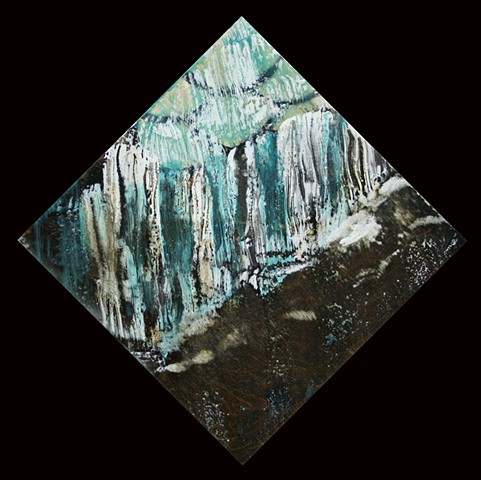 Energetic Diamond shaped encaustic Waterfall