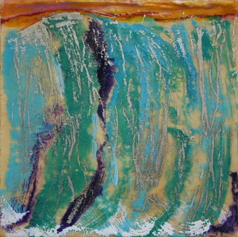 Small encaustic waterfall