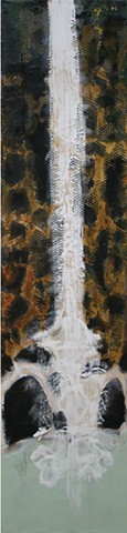 Encaustic waterfall Painting incorporating Tar