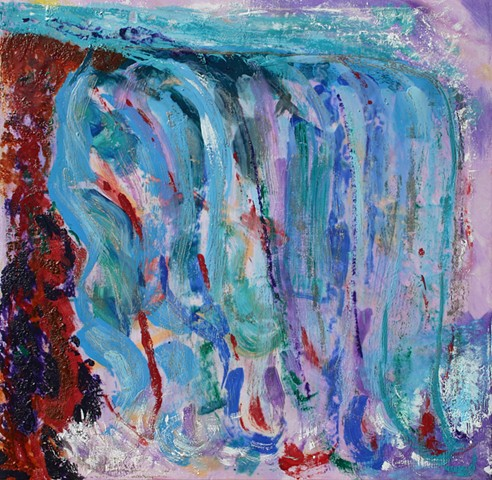 Fauvist painting in Encaustic reminiscent of Niagara Falls