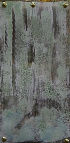 Encaustic waterfall on clear drafting film suspended over variegated leaf