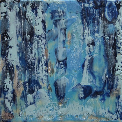 Encaustic waterfall in shades of blue