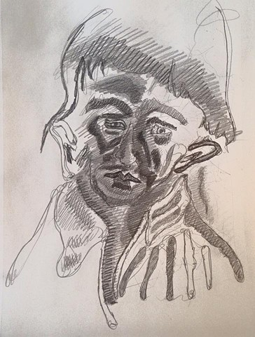 face pencil drawing a cortright devereux artist pennsylvania german expressionism