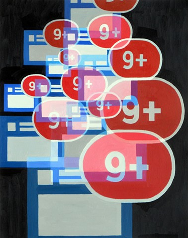 James Lassen painting cellphone iphone text messages people