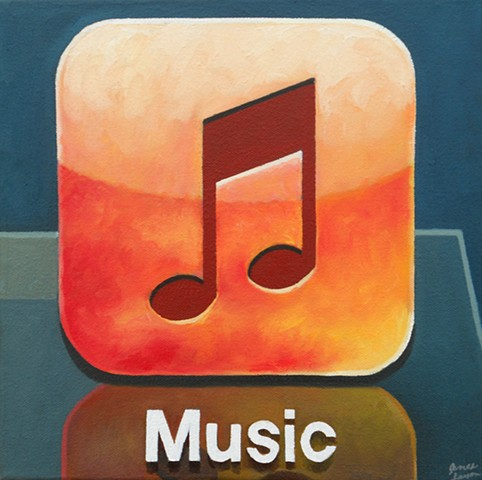 Painting of the iPhone's Music icon by James Lassen