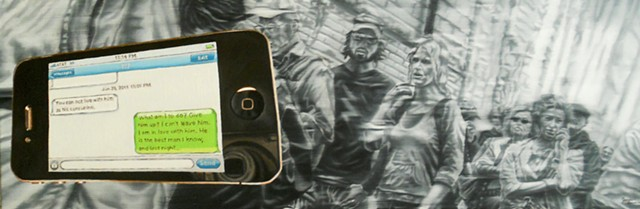 painting by James Lassen of iPhone in front of people