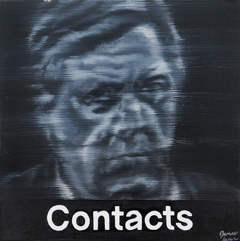 portrait by James Lassen that features a blurred, black and white figure in place of an iPhone icon