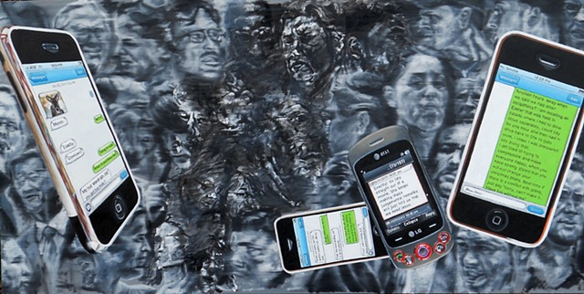 Painting by James Lassen showing a cellphone and iPhones with blurred black and white faces behind