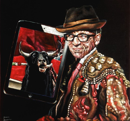 James Lassen, velvet elvis, velvet painting, bull on ipad
