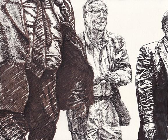 James Lassen, painting, drawing, sketch, work on paper, figures