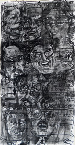 charcoal drawing by James Lassen of faces and text message fragments