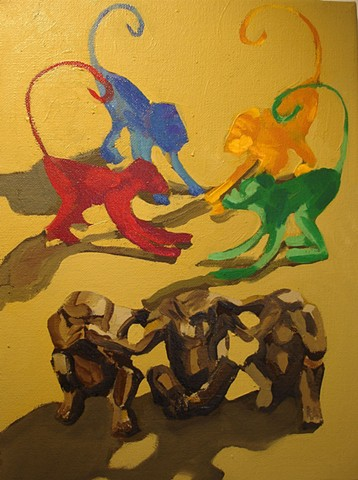 Oil painting of monkeys