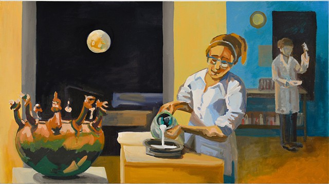 painting of a women in a lab