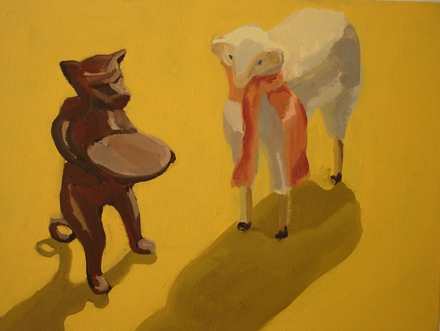 Oil painting of dog and sheep figures