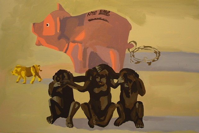 Oil Painting of pigs and monkeys celebrating absurdity