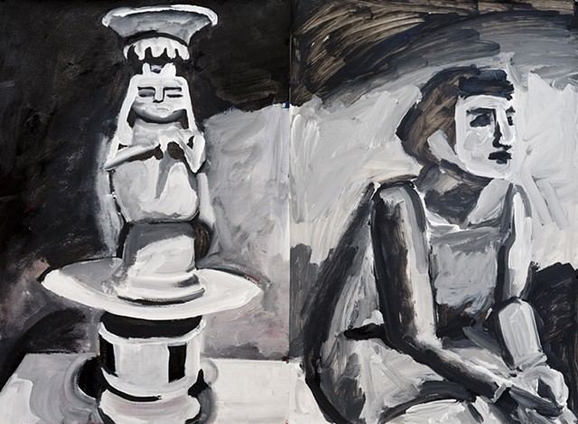 black and white painting of seated woman by a statue