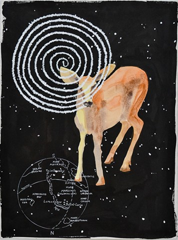 Deer image in a black night sky with a lunar map and a time spiral