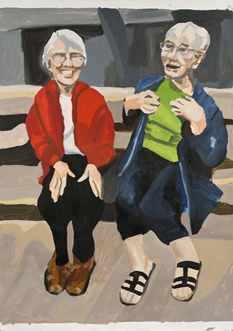 painting, two older women on a bench talking with animation