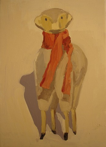 Oil painting of Sheep figure