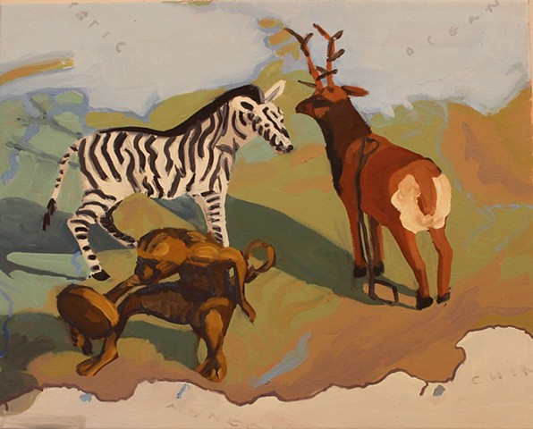 Still life, map of Russia, zebra, reindeer and monkey
