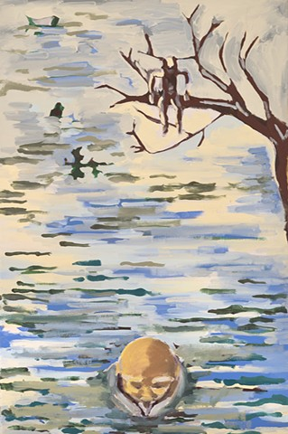 painting, girl in a branch over a river, the head of a man coming out of the water