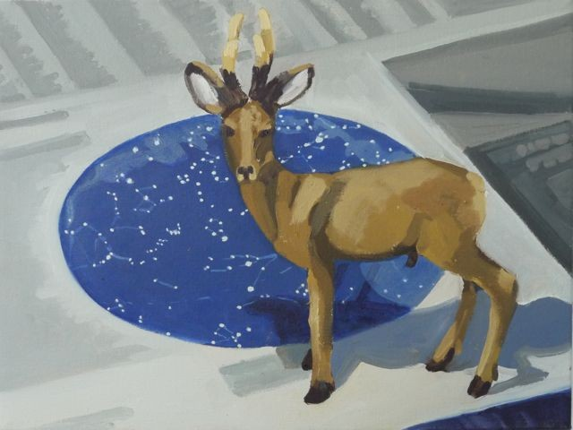 Oil painting of a toy deer on a star map.