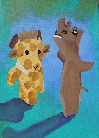 still life painting with giraffe and rhino finger puppets