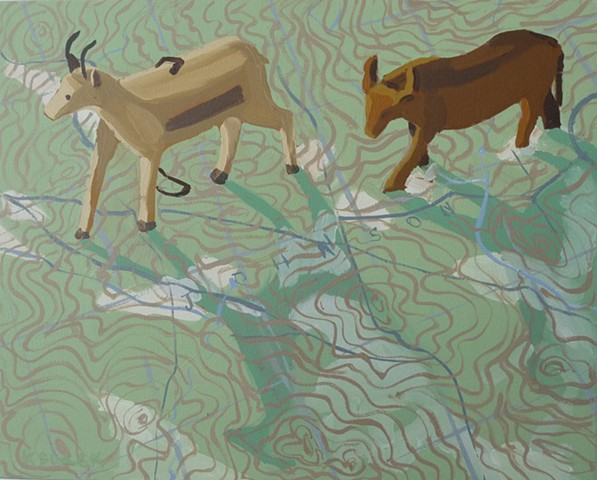 Oil painting of animal figurines on a Vermont topographical map