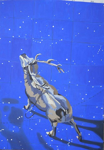 still life, deer on star map