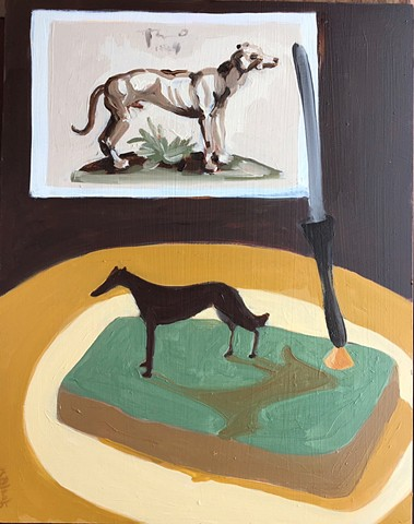 A dog painting with a dog pen holder