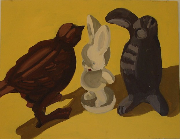 Oil painting of rabbit and birds