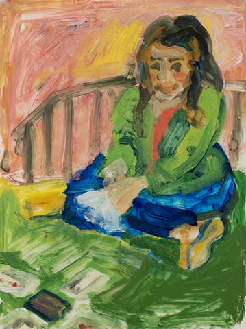 painting, girl sitting cross-legged on bed playing cards