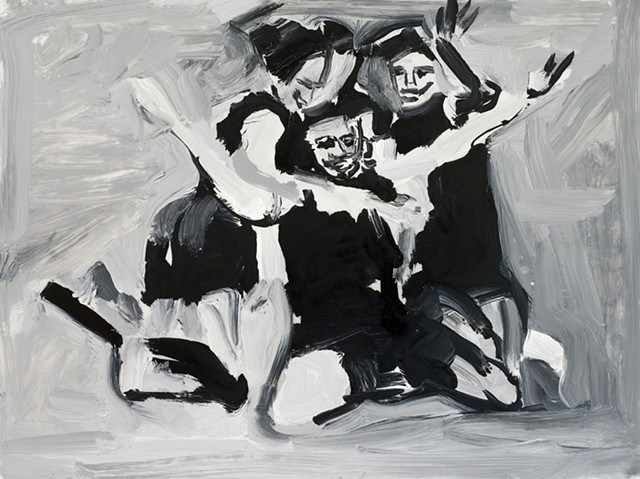 black and white painting women soccer players celebrating