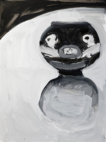 black and white painting of vase with a cat face on a table
