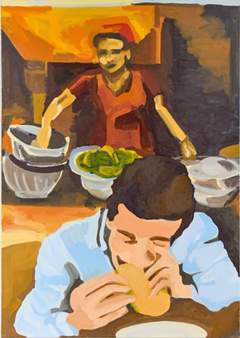 Painting of a man eating, a woman behind, cooking