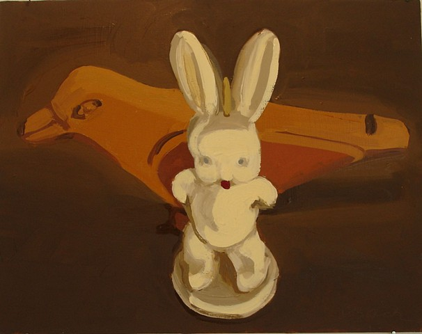 Oil painting of bunny and bird