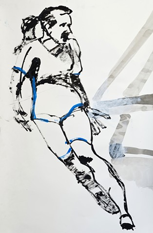 drawing of a woman soccer player scoring a goal