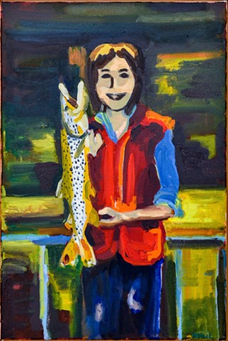 oil painting of a woman with a fish