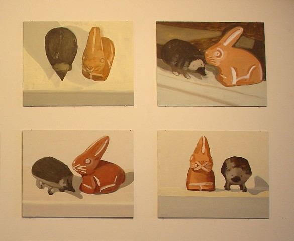 detail, 4 of 16 panels, oil, Rabbit and Hedgehog