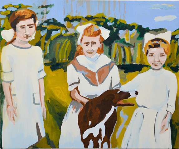 oil painting of three girls and a dog
