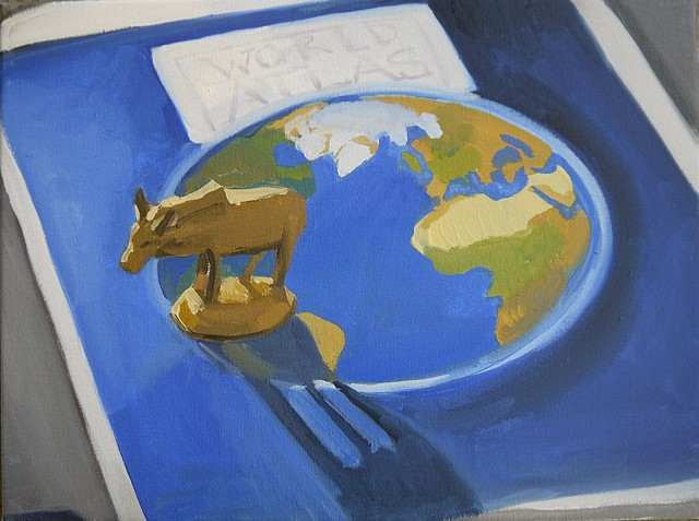 still life with ox on world atlas